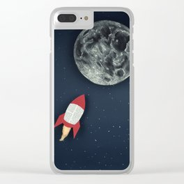 Rocket to the Moon Clear iPhone Case