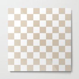 Brown, Beige: Checkered Pattern Metal Print