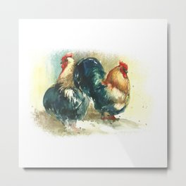 Two cocks, roosters in watercolor. Symbol of 2017 New Year! Metal Print