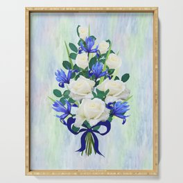 Blue Iris and Roses Bouquet with Blue Bow Serving Tray