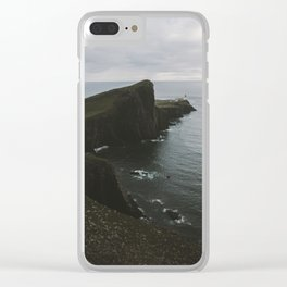 Neist Point Lighthouse at the Atlantic Ocean - Landscape Photography Clear iPhone Case