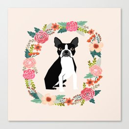 Boston Terrier floral wreath flowers dog breed gifts Canvas Print