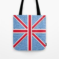 union jack Tote Bags featuring Union Jack by Cats Hand