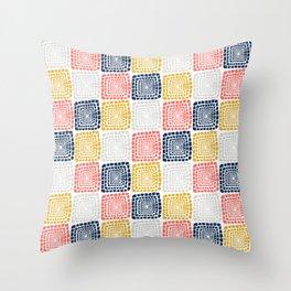 Bohemian Sandcastles- Random: Coral, Blue, Ochre, Gray Throw Pillow