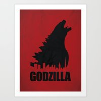 godzilla Art Prints featuring Godzilla by Nick Kemp