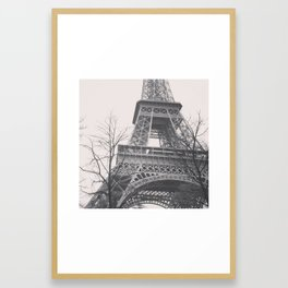 Eiffel tower, Paris, black & white photo, b&w fine art, tour, city, landscape photography, France Framed Art Print