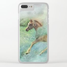 Running on blue meadow Clear iPhone Case