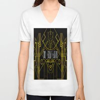 great gatsby V-neck T-shirts featuring The Great Gatsby by Ronoh Designs