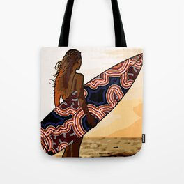Authentic Aboriginal Art - Surfs up Australia Tote Bag