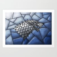 house stark Art Prints featuring House Stark Stained Glass by itsamoose