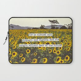 She is clothed with strength and dignity Laptop Sleeve