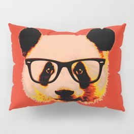 Panda with Nerd Glasses in Red Pillow Sham