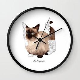 Geometric Animal - Munchkin Cat Wall Clock
