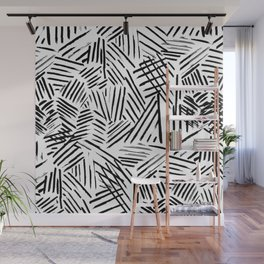 Black White Abstract Linear drawn Lines Pattern Wall Mural