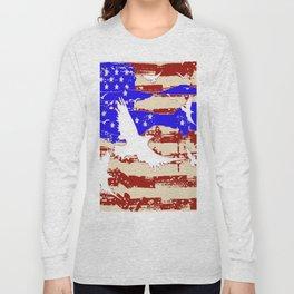 AMERICANA FLAG & WHITE EAGLES FROM  SOCIETY6 BY SHARLESART. Long Sleeve T-shirt