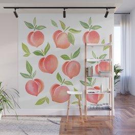 Peaches Watercolour Painting Wall Mural