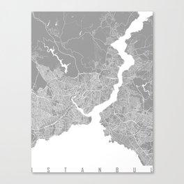 Istanbul map grey Canvas Print