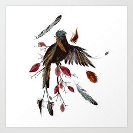 Beautiful tropical bird sit on branch Art Print