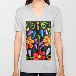 Mexican Flowers Unisex V-Neck