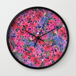 Dark Red Poppy Garden Wall Clock