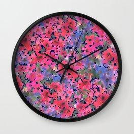 Dark Red Poppy Garden Wall Clock