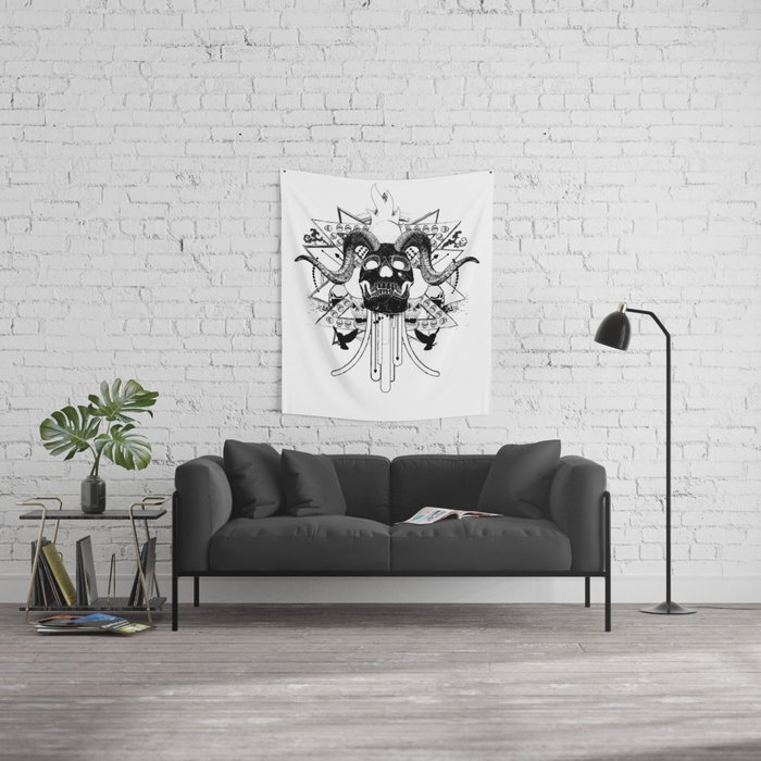 Rock Horned Skull Graphic  Wall Tapestry