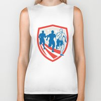 crossfit Biker Tanks featuring American Crossfit Runners USA Flag Retro  by patrimonio