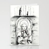 les miserables Stationery Cards featuring Les Miserables Portrait Series - Cosette by Flávia Marques