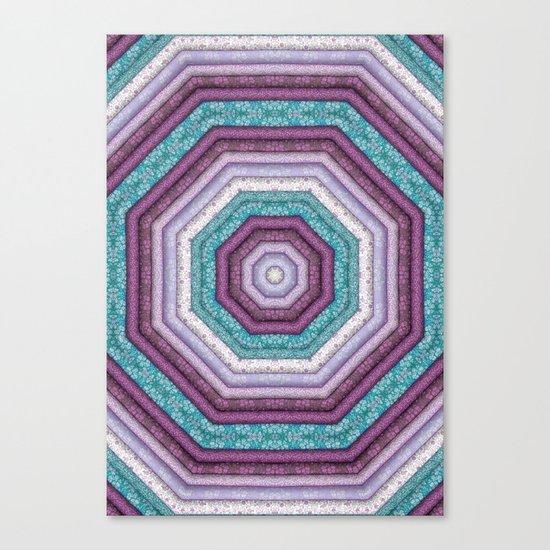 folkloric mandala teal purple Canvas Print