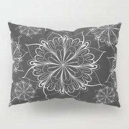 Hand painted black white mandala floral pattern Pillow Sham