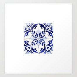 Azulejo V - Portuguese hand painted tiles Art Print
