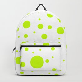 Mixed Polka Dots - Fluorescent Yellow on White Backpack
