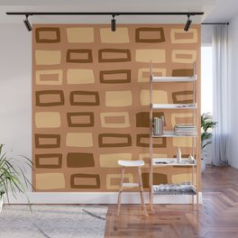 Mid Century Modern Abstract Squares Pattern 981 Beige and Brown Wall Mural