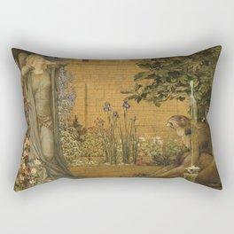 Beauty and the Beast, 1904 by John D Batten & Joseph E Southall - Reproduced from original under CC0 Rectangular Pillow