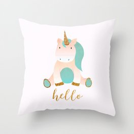 unicorn greetings Throw Pillow