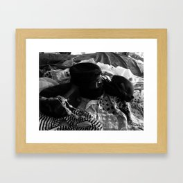 HATS AND SCARVES IN BLACK AND WHITE Framed Art Print