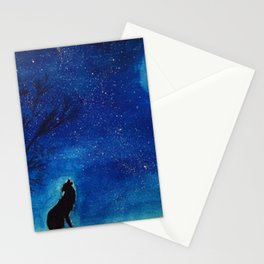 Starry Blues Wolf original watercolor Stationery Cards
