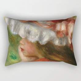 "Auguste Renoir ""Tête de jeune fille (Head of a young girl)"" Rectangular Pillow"