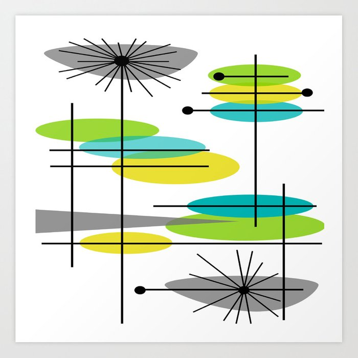 Mid Century Modern Atomic Design Art Print By Kippygirl