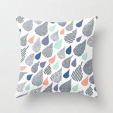 Playful Rain in White Throw Pillow