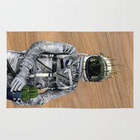 spaceman Area & Throw Rugs featuring Cacti   Spaceman No:1 by FAMOUS WHEN DEAD