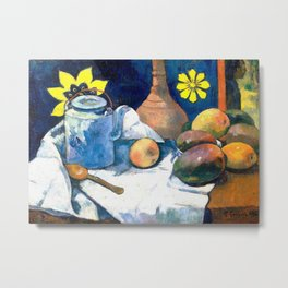 Paul Gauguin - Still Life with Teapot and Fruit 1896 Artwork for Wall Art, Prints, Posters, Tshirts, Men, Women, Kids Metal Print
