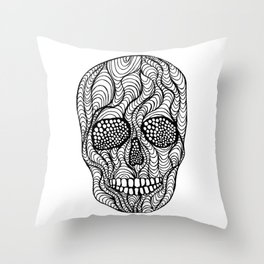 Wavy Skull Throw Pillow