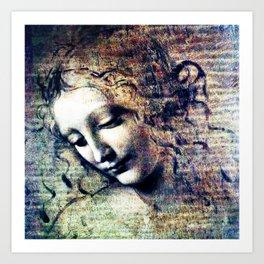 Leonardo Da Vinci Female Head Art Print