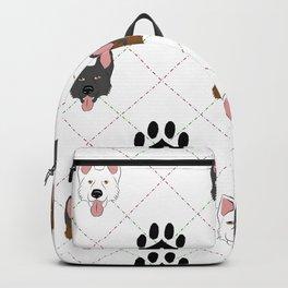 3 German Shepherd Colors Paw Print Pattern Backpack