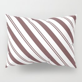 Pantone Red Pear and White Stripes Angled Lines Pillow Sham