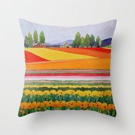 Skagit Valley Tulips Throw Pillow