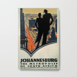 Johannesburg the metropolis of South Africa Vintage Travel Poster Metal Print