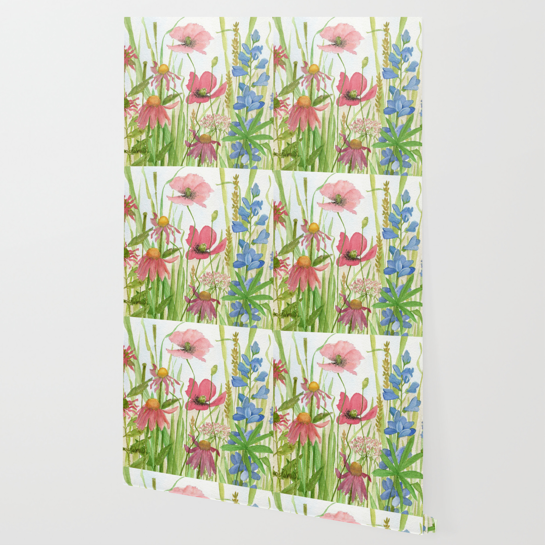 Watercolor Garden Flower Poppies Lupine Coneflower Wildflower Wallpaper
