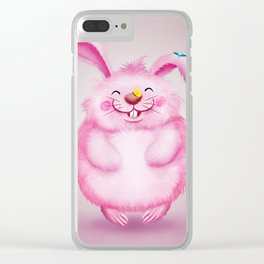 Cute funny pink rabbit with butterflies Clear iPhone Case